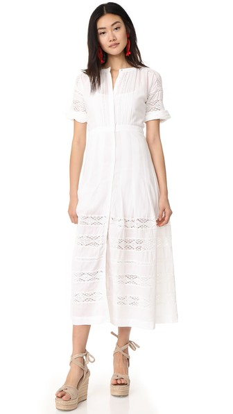 LOVESHACKFANCY Edie Lace-Inset Cotton Dress, White