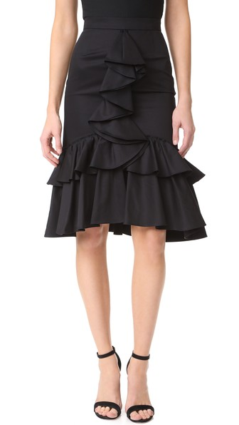 TOME Woman Ruffled Cotton-Twill Skirt Black