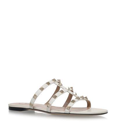 Rockstud Leather Flat Slide Sandal, White