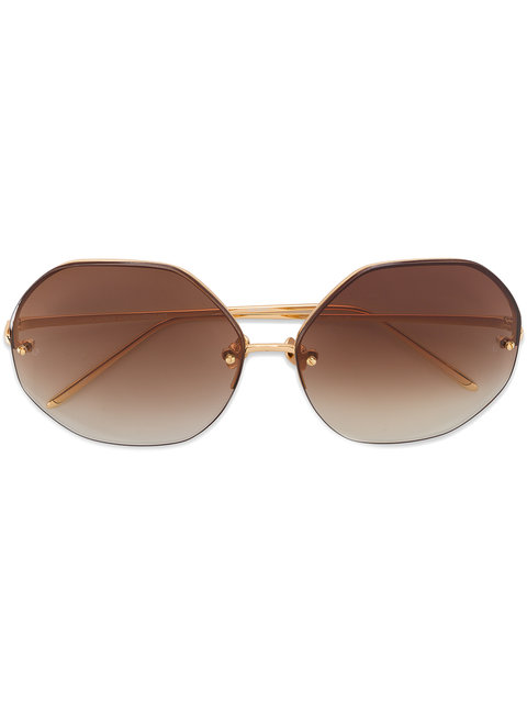 Linda Farrow Oversized Sunglasses - Brown