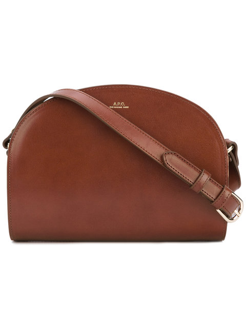 'Sac Demi Lune' Leather Crossbody Bag - Brown