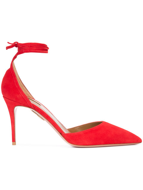 AQUAZZURA Heart Breaker Suede Ankle-Wrap Pumps, Lipstick