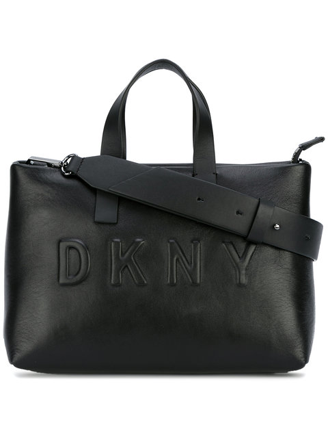DKNY Debossed Logo Shoulder Bag in Nero