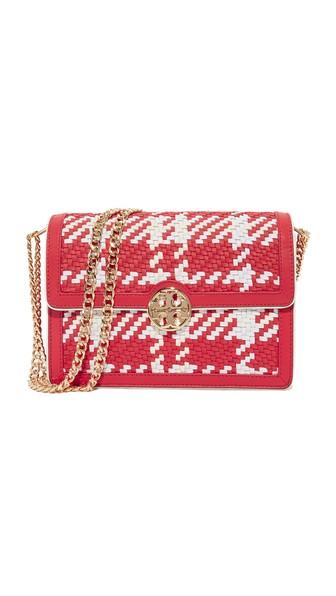 3f90714877a TORY BURCH Duet Chain Woven Convertible Shoulder Bag