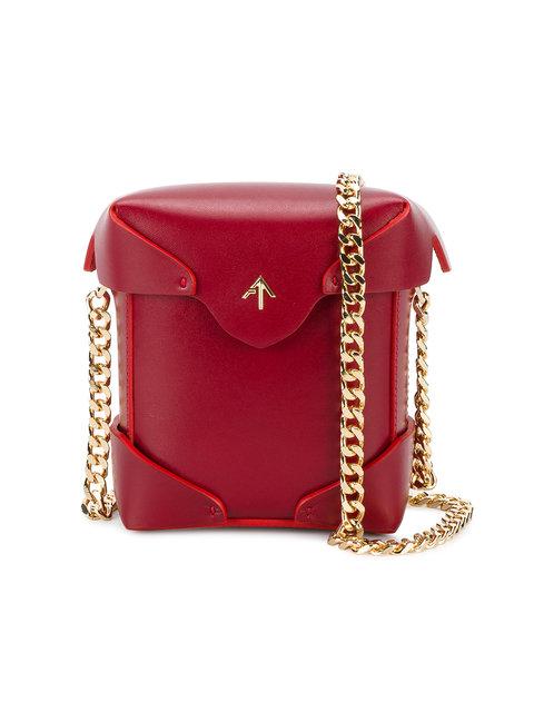 Manu Atelier 'Micro Pristine' Gold Chain Bag - Red