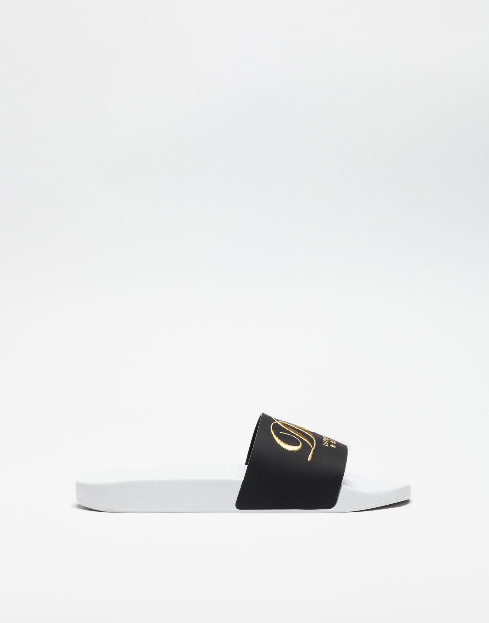 Dg Embroidery Rubber Slide Sandals in Black