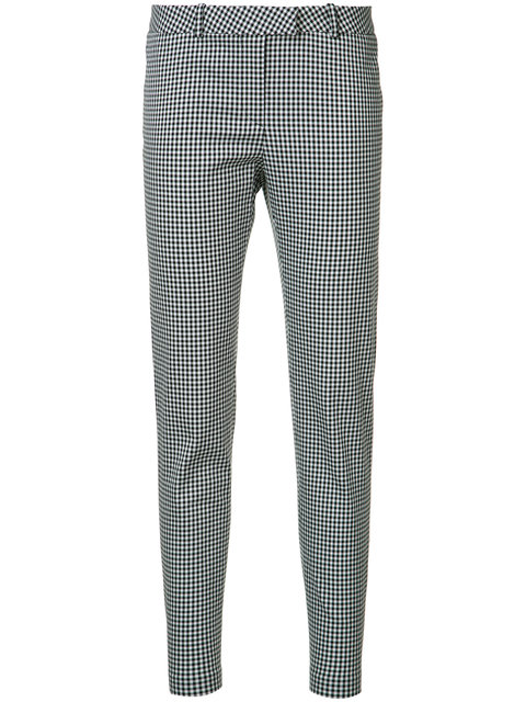 ALTUZARRA Henri Gingham Skinny Pants, Black/White