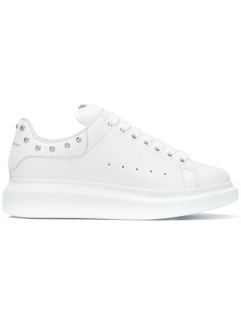 Studded Leather Low-Top Sneaker, White in 9000 White