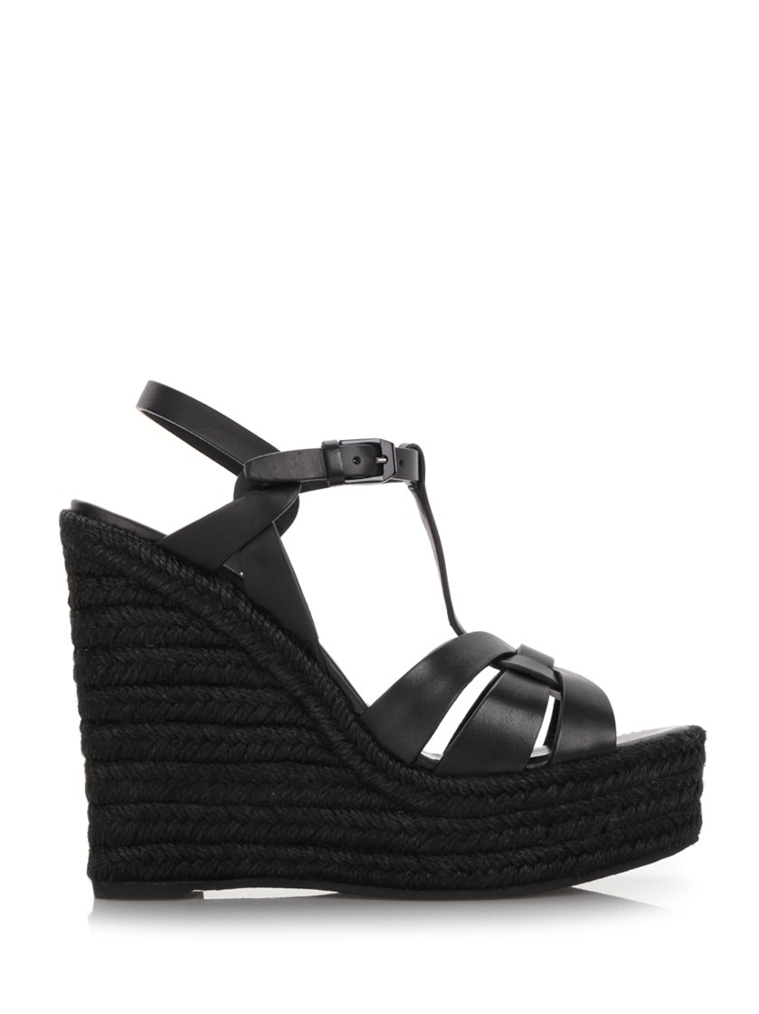 Tribute Leather Platform Espadrille Wedge Sandal in Black