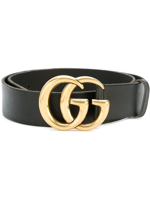 Wide Leather Belt With Double G in Black
