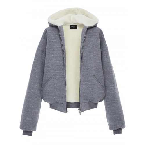 Faux Shearling-Lined Cotton-Blend Jersey Zip-Up Hoodie, Gray