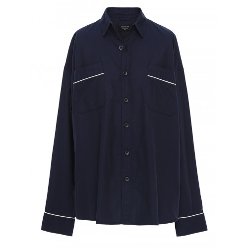 FEAR OF GOD Fifth Collection Oversized Silk-Piped Cotton Shirt in Blue
