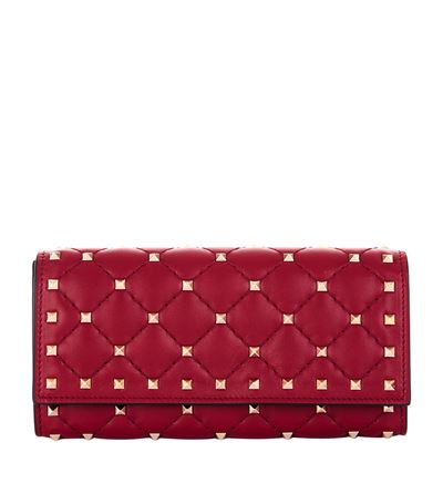 Rockstud Spike Leather Continental Wallet - Red