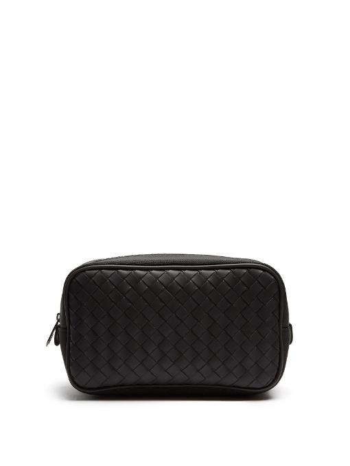 a42a378f0873 Bottega Veneta Canvas And Intrecciato Leather Washbag In Black ...