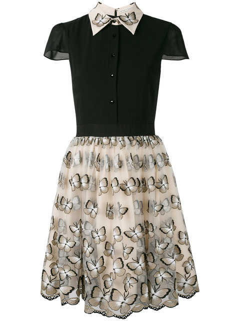 ALICE AND OLIVIA Butterfly Embroidered Skirt in Ivory