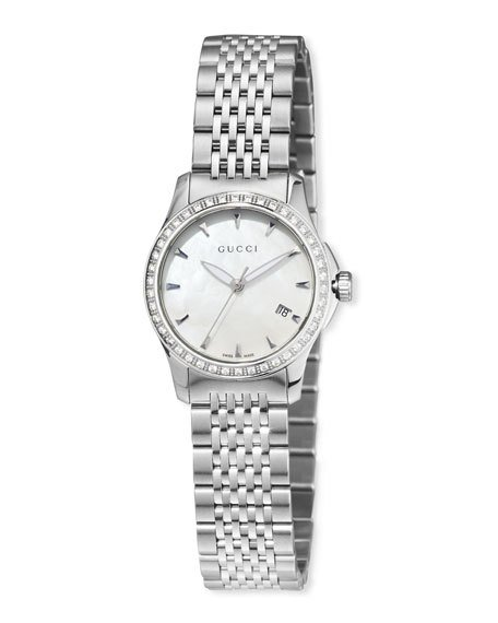 759378210b3 GUCCI G-TIMELESS SMALL STAINLESS STEEL   DIAMOND BRACELET WATCH ...