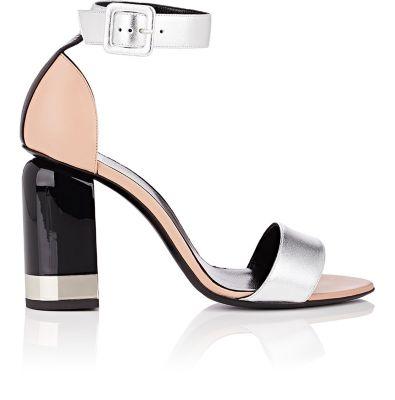 PIERRE HARDY Memphis Colorblock Metallic Leather Block Heel Sandals, Multi- Silver