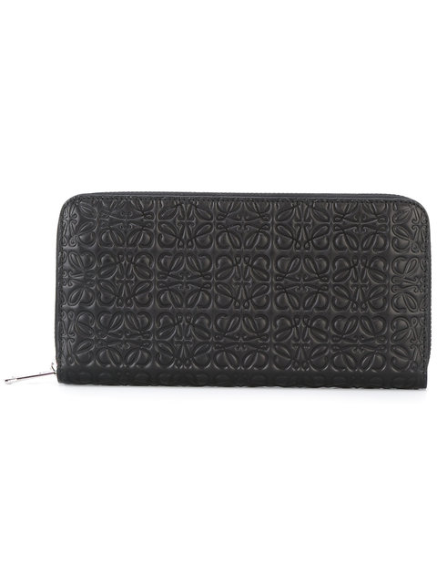 Black Medium Anagram Zip Around Wallet