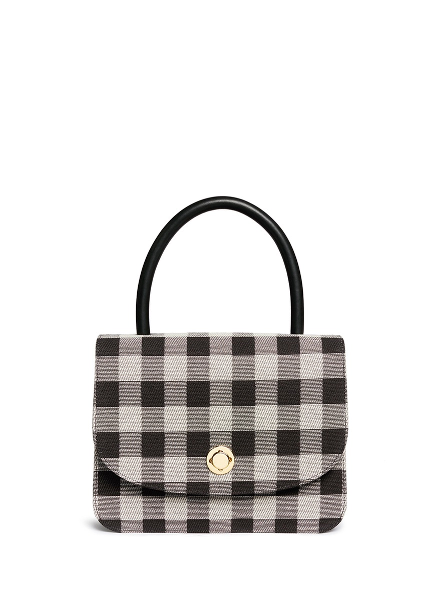 MANSUR GAVRIEL Metropolitan Gingham Top-Handle Bag, Black in Black Check