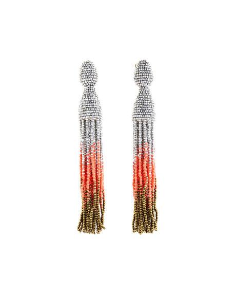 OSCAR DE LA RENTA Gold Ombré Beaded Long Tassel Earrings in Red