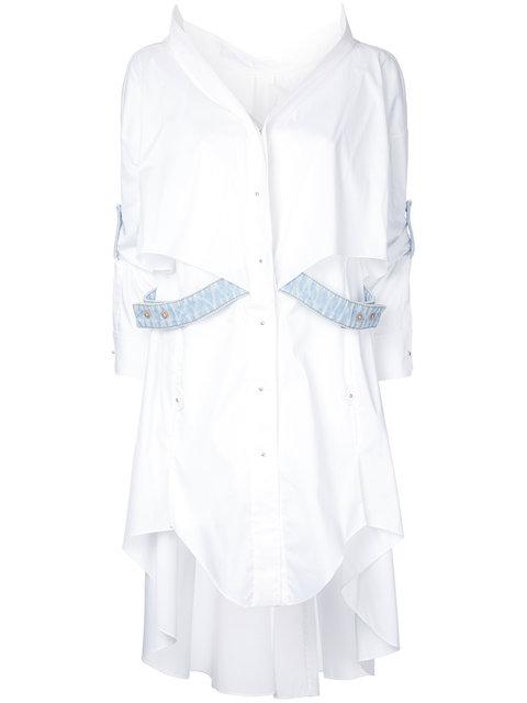 ESTEBAN CORTAZAR Denim-Trimmed Poplin High-Low Shirtdress