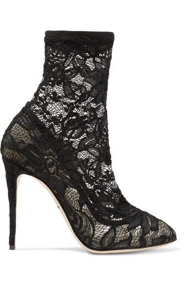 DOLCE & GABBANA ANKLE BOOT IN STRETCH LACE AND GROS GRAIN, BLACK