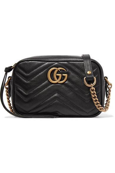 Gg Marmont Camera Mini Quilted Leather Shoulder Bag in Black