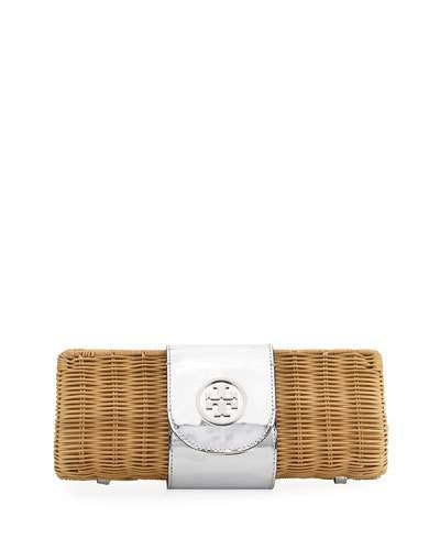 TORY BURCH Rattan Straw Metallic Clutch Bag in Natural/Silver
