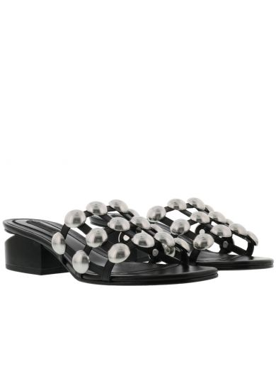 Alexander Wang Lou Tilt-Heel Studded Leather Slides