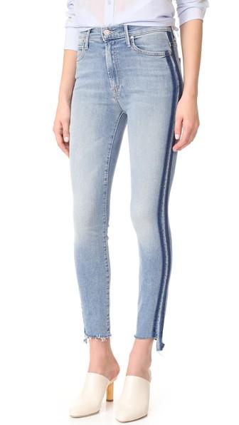 Stunner Side-Stripe Ankle Step-Hem Fray Skinny Jeans In Light Kitty Racer