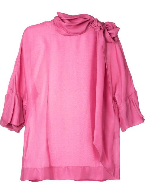PAULE KA Paule Ka Tie Neck Woven Blouse - Pink