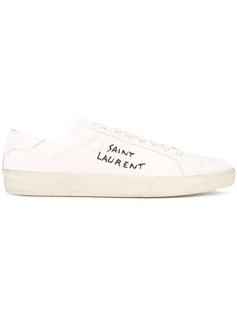 Sl/06 Court Classic Distressed Leather-Trimmed Embroidered Canvas Sneakers in White