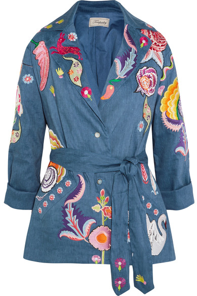 TEMPERLEY LONDON Hermia Embroidered Stretch Linen And Wool-Blend Jacket in Blue/Multi