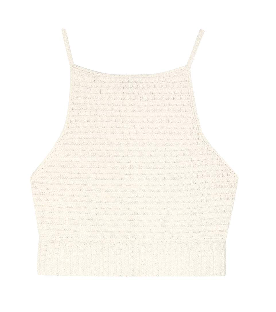 SHE MADE ME Crochet Knit Cotton Top in Beige