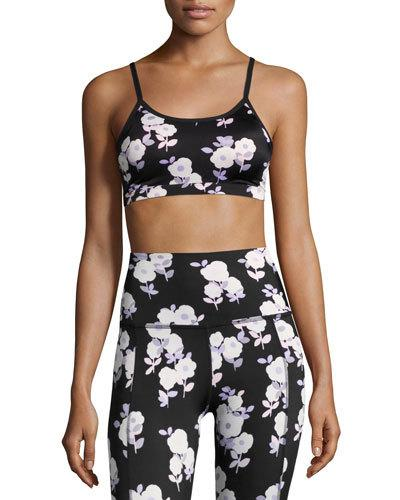 BEYOND YOGA X KATE SPADE NEW YORK LUXE FLORAL CINCHED BOW BRA, BLACK, BLACK PATTERN