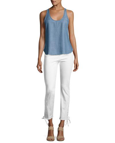 Frame Le High Straight Leg Cropped Jeans Blanc Modesens