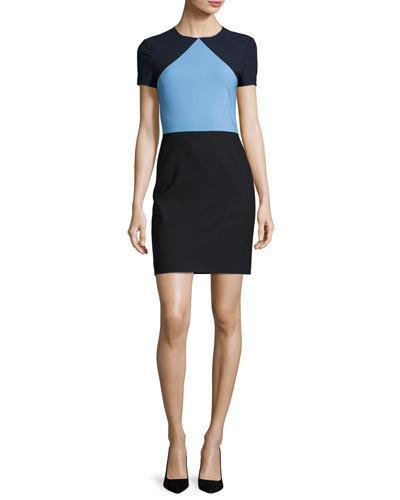 DIANE VON FURSTENBERG COLORBLOCK SHORT-SLEEVE SHEATH DRESS, BLUE, TRUE BLUE
