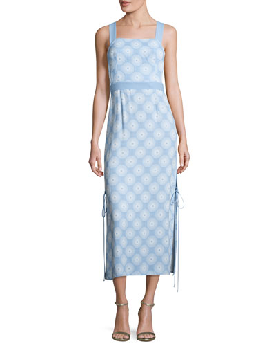 DIANE VON FURSTENBERG SLEEVELESS TIE-SIDE PRINTED MIDI DRESS, BLUE, DARNLEY HORTENSIA BLUE