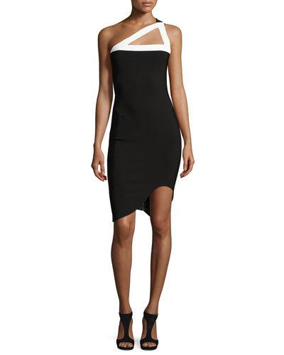 MUGLER ONE-SHOULDER ASYMMETRIC-HEM DRESS, BLACK/WHITE, WHITE/BLACK