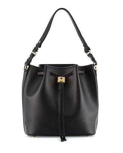 858fb35d63eb Salvatore Ferragamo Carla Pebbled Leather Bucket Bag In Nero ...