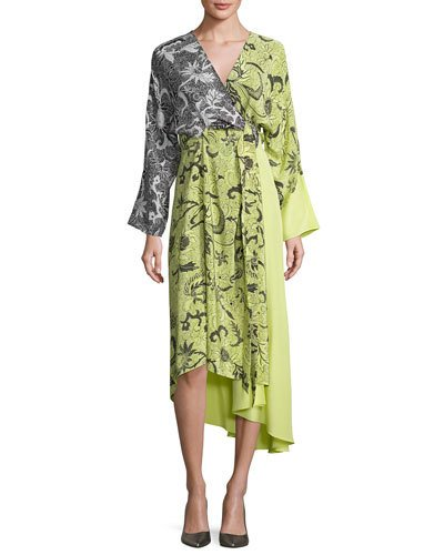 Diane Von Furstenberg Colorblock Floral-Print Silk Kimono Dress, Yellow, Serret Canary Yellow-Serret Black