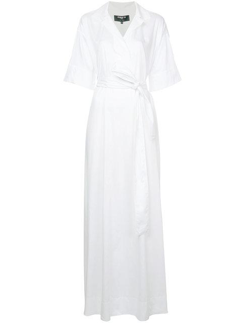 PAULE KA Paule Ka Long Woven Wrap Dress - White
