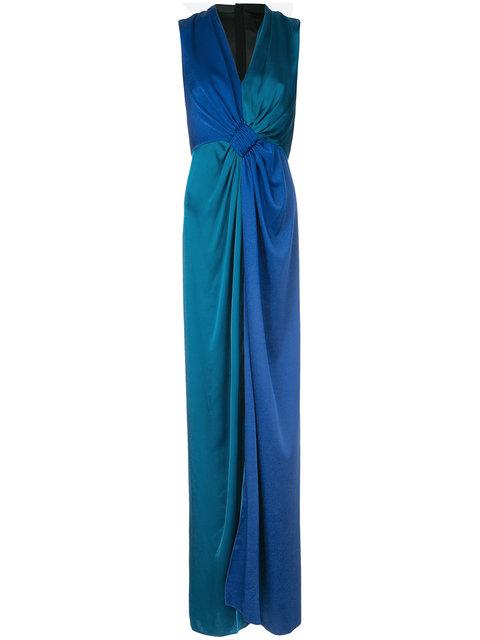 PAULE KA Paule Ka Contrast Woven Draped Dress - Blue