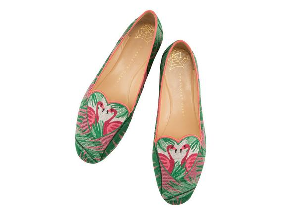 Flamingo Leather-Trimmed Embroidered Canvas Slippers, Multi Colour