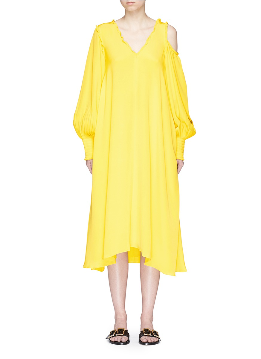 Tibi Woman Edwardian Ruffle-trimmed Cutout Silk Midi Dress Bright Yellow Size 4 Tibi XiprG