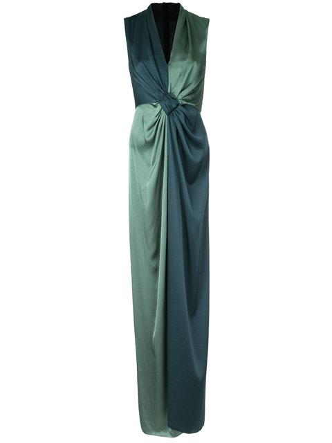 PAULE KA Paule Ka Long Woven Contrast Dress - Green