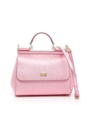 DOLCE & GABBANA Laminated Sicily Bag in Rosa|Metallico