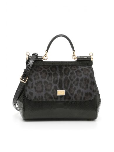 DOLCE & GABBANA Pony And Python Sicily Bag in Leopardo/Nero|Grigio