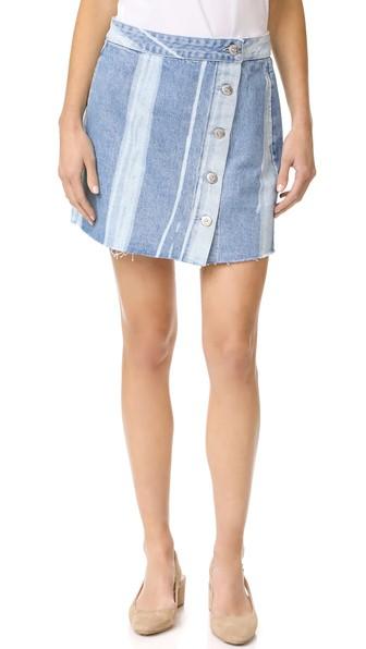 Higher Ground Pinto Stripe Denim Mini Skirt, Blue in Light Blue