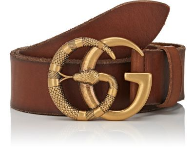 b7d87c766a20e GUCCI Leather Belt With Double G Buckle With Snake in Brown